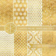 Papel digital dorado y blanco motivos geométricos, color dorado brillante, blanco, geométrico, estrellas, hojas, triangulos, scrapbooking de PetitePrune en Etsy https://www.etsy.com/es/listing/464272074/papel-digital-dorado-y-blanco-motivos