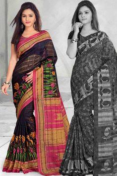 Navy & Pink Bhagalpuri Saree With Unstitch Blouse