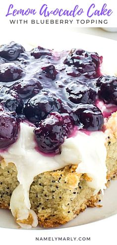 This Lemon Avocado Cake with Blueberry Topping is really a dessert to behold. It's beautiful and delicious all at the same time!  #namelymarly #lemoncake #vegancake Best Cake Recipes, Sweet Recipes, Snack Recipes, Dessert Recipes, Kitchen Recipes, Vegan Recipes, Easy No Bake Desserts, Sweet Desserts, Delicious Desserts