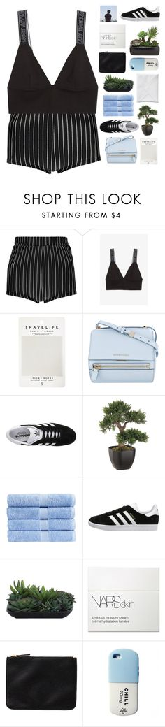 """know you won't remember in the morning when i speak my mind ☆"" by scattered-parts ❤ liked on Polyvore featuring Boohoo, Monki, Mark's Tokyo Edge, Givenchy, adidas Originals, Christy, Lux-Art Silks and NARS Cosmetics"