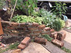 #ガーデン#アンティークレンガ Garden Planning, Firewood, Backyard, Layout, Exterior, Bricks, Plants, Gardening, Woodburning