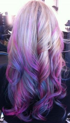 Ombre hair purple light purple pink blue ombre hair color with highligh nice purple hair dye choice Dyed Hair Purple, Violet Hair, Pastel Hair, Purple Ombre, Pink Blue, Light Purple, Blonde Pink, White Ombre, Pastel Purple