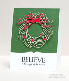 CAS Penny Black Diecut Card Penny Black Supplies: 51-151 Whirl Wreath 40-382 Blips 30-310 Believe 51-136 Stitched Edges