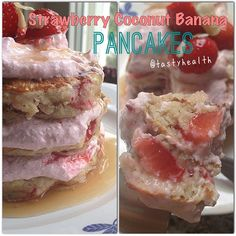 Strawberry coconut banana pancakes with strawberry cream