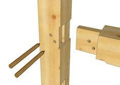 "Rule of the thumb for sizing. Tenon is 1/4 timber width, so for an 8x8 timber, the tenon is 2""."