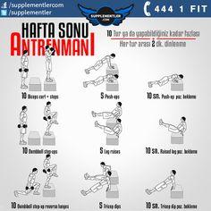 Hafta sonu #spor salonuna gidemiyorsanız tüm vücudunuzu çalıştıracak bu rutin #antrenman ile değerlendirebilirsiniz! #fitness #health #supplement #fitness #bodybuilding #body #muscle #kas #vücutgelistirme #training #weightlifting #spor #antrenman #cros