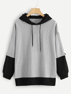Color Block Drawstring Hooded Sweatshirt Women Casual Autumn New Style Grey Pullovers Spring Sporty Long Sleeve Hoodie Gray XL Fashion Mode, Grey Fashion, Fashion Outfits, Fashion Styles, Trendy Hoodies, Kawaii Clothes, Diy Clothes, Aesthetic Clothes, Pulls