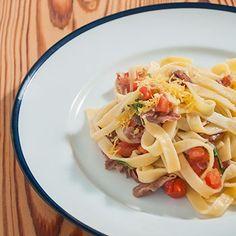 Tagliatelle com presunto Parma, pimenta vermelha e tomate   Cozinha do João