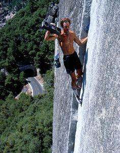 Werner Braun on Reed's Pinnacle Direct in the late 70s; Photograph by Bob Gaines