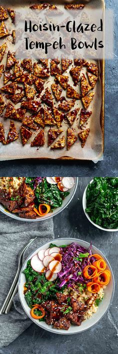 Sticky hoisin-glazed tempeh are served with sesame massaged kale, sweet carrots, crisp radishes, and shaved cabbage, and brown jasmine rice in this healthy and delicious vegan and gluten free buddha bowl   thecuriouschickpea.com #vegan #buddhabowl #tempeh