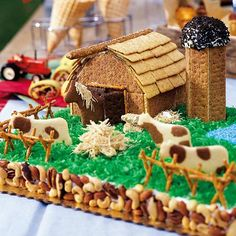 Farmyard Birthday Cake.  Includes directions for decorating.  What fun!