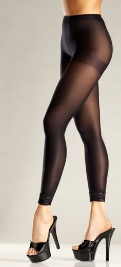 771e133fbbc Sexy Be Wicked Black Opaque Lace Trimmed Leggings Footless Tights/Pantyhose  Footless Tights, Pies
