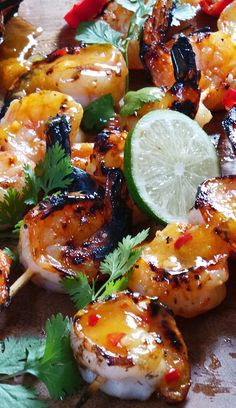 Chili Grilled Shrimp -Orange Chili Grilled Shrimp - Bold and savory garlic dijon shrimp and salmon foil packs are loaded with your favorite seafood and the most incredible tangy honey dijon sauce. Shrimp Dishes, Fish Dishes, Grilling Recipes, Cooking Recipes, Healthy Recipes, Cooking Tips, Vegetarian Grilling, Healthy Grilling, Picnic Recipes