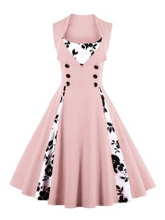 To find out about the Contrast Panel Double Breasted Circle Dress at SHEIN, part of our latest Dresses ready to shop online today! Pin Up Dresses, Pretty Dresses, Fashion Dresses, Summer Dresses, Floral Dresses, Beautiful Dresses For Women, Cotton Dresses, Necklines For Dresses, Types Of Dresses