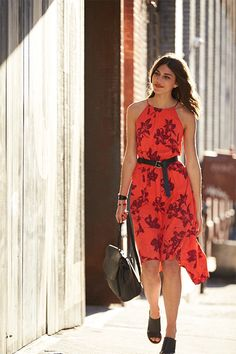 Summer is no season for wallflowers. Stay cool in a hot red floral maxi dress. Try it loose and flowy or add shape with an Italian black leather belt. A backpack adds unexpected contrast. | Banana Republic