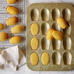 Williams-Sonoma Goldtouch® Nonstick Madeleine Plaque Pan from Williams Sonoma. Saved to Cooking. Gourmet Recipes, Cookie Recipes, Dessert Recipes, Gourmet Foods, Baking Recipes, Williams Sonoma, Macarons, Just Desserts, Delicious Desserts
