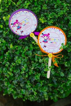 Lollipop styled invitations for Lalaloopsy party
