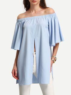 Shop Light Blue Off The Shoulder Split Blouse online. SheIn offers Light Blue Off The Shoulder Split Blouse & more to fit your fashionable needs.