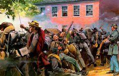 """Battle in the streets, Baltimore Street, Gettysburg, July 1-3, 1863"" Don Troiani"