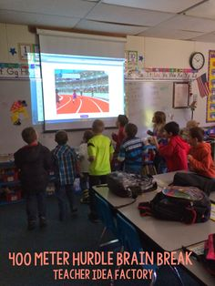I have done this in my classroom and the kids love it! Amazing brain break - check out the 400 meter hurdles. it's FREE :) Classroom Behavior, School Classroom, School Fun, Classroom Ideas, School Stuff, School Tool, Classroom Games, School Days, Middle School