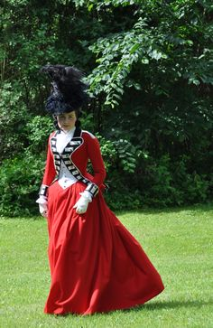 """Lady Worsley riding habit, Porvoo Finland    """"Her Grace the Duchess of Devonshire appears every day at the head of the beauteous Amazons on Coxheath, who are all dressed en militaire; in the regimentals that distinguish the several regiments in which their Lords, etc. serve, and charms every beholder with their beauty and affability.""""     Morning Post July 1778, Hallie Rubenhold, Lady Worsley's Whim"""