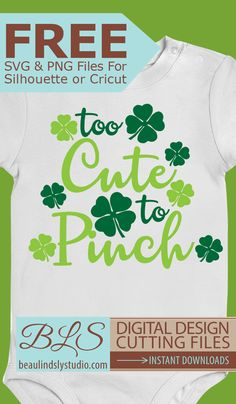 Free SVG File and PNG Image File for Silhouette or Cricut for St Patrick's Day: Too Cute To Pinch in green. This file may be used commercially, but the file may not be sold or given away for free alone, bundled, altered or in any form. Kids Silhouette, Silhouette Cameo Projects, Silhouette Machine, Applique, St Patrick Day Shirts, Vinyl Shirts, Cricut Creations, Svg Files For Cricut, Cricut Fonts