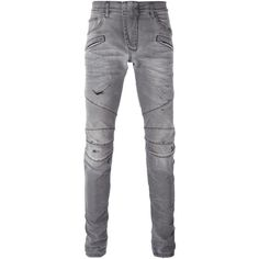 Pierre Balmain distressed biker jeans ($434) ❤ liked on Polyvore featuring men's fashion, men's clothing, men's jeans, men, pants, jeans, grey, mens torn jeans, mens gray jeans and mens jeans