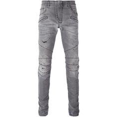Pierre Balmain distressed biker jeans (1.770 BRL) ❤ liked on Polyvore featuring men's fashion, men's clothing, men's jeans, men, jeans, pants, grey, mens ripped jeans, mens biker jeans and mens destroyed jeans