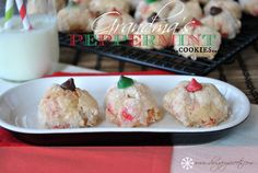Grandma's Peppermint Puff Cookies- crunchy sugar coating around a soft peppermint center! Topped with a chocolate chip.