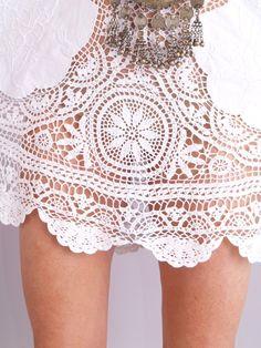 Vtg 70s Crochet Scallop Sheer Bell Cutout Mini Dress | eBay