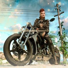 Tough girls rule this world Road Rage Cyberpunk Girl, Cyberpunk Character, Creature 3d, Post Apocalyptic Art, Stunt Bike, Road Rage, Tough Girl, Motorcycle Art, Comic