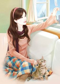 chinese girl y Cartoon Kunst, Cartoon Art, Cute Cartoon, Chinese Drawings, Chinese Art, Korean Art, Asian Art, Bts Art, Lovely Girl Image