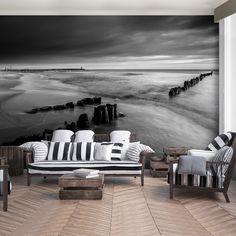 Black And White Interior, White Interior Design, Black And White Wallpaper, Outdoor Sofa, Outdoor Furniture, Outdoor Decor, Photo Wallpaper, Wallpapers, Home Decor