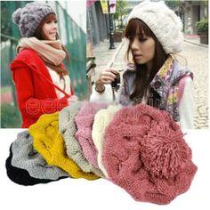 Korean Fashion Women Lady Winter Beret Braided Baggy Beanie Knitted Hat Cap New | eBay