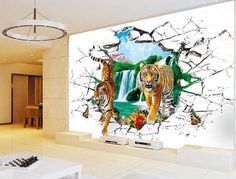 3d tiger wallpaper animal stereograph wall murals wall art