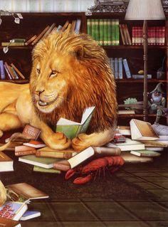 "LAZY LION LOUNGING IN THE LOCAL LIBRARY -- from a very original Australian artist - Graeme Base - alphabet ""Animalia"""