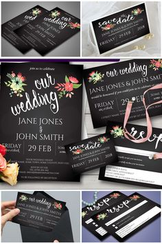 How about this for the budget-minded bride? A beautiful set of matching wedding stationary. Editable and printable wedding invitation, save the date, reception invitation and RSVP.