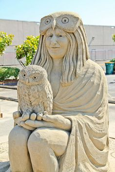 Sand Sculpture: Little Owl by Remy Geerts by FlintWeiss, via Flickr