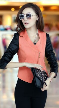 PU Leather Sleeve Korean Jacket YRB0294