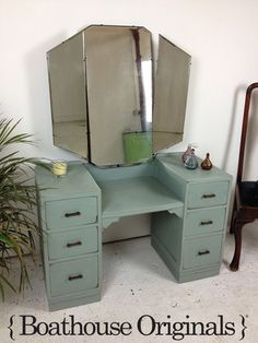 Vintage Shabby Chic Art Deco Painted Dressing Table with Mirror Annie Sloan