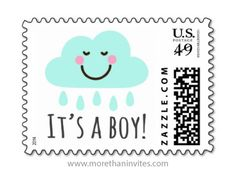 It's a boy baby shower or new baby announcement postage stamp with cute cartoon cloud and rain drops