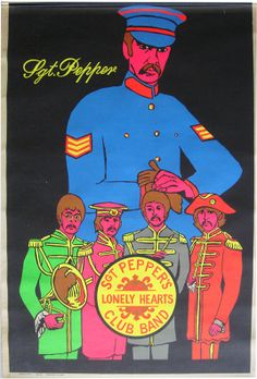 Sgt. Pepper's Lonely Hearts Club-Beatles black light poster late 1960s