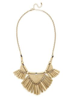 Rule of Thirds Necklace in Gold. As a professional photographer with a keen eye for innovative design, its no wonder that your latest inspiration is this muted gold statement necklace! #gold #modcloth
