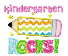 Kindergarten Rocks Applique - 3 Sizes! | What's New | Machine Embroidery Designs | SWAKembroidery.com Dollar Applique