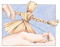 """How to make a cornhusk doll from The Old Farmer's Almanac.   for """"Playing the past"""""""