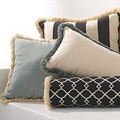 Outdoor Fringed Pillows...Bolster piped in Black/cream awning stripe?