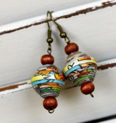 Paper Bead Earrings -               Twirling Trees Paper Bead Creations