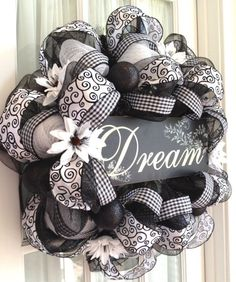 Image detail for -Elegant Black & White Deco Mesh Wreath by Southern Charm Wreaths. Normally I'm very opposed to wreaths, however, this one is not bad Wreath Crafts, Diy Wreath, Diy Crafts, White Wreath, Wreath Ideas, Tulle Wreath, Wreath Burlap, Wreath Making, Chevron Burlap Wreaths