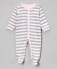 Lovespun Gray & Pink Stripe Footie - Infant by Lovespun #zulily #zulilyfinds