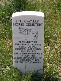 The Cavalry Horse Cemetery Marker at Little Big Horn . To Defend Themselves at the Last Stand, Custer's Men killed their Horses & Shot the Native Americans from behind their Bodies. The Horses were subsequently Buried below this Marker . Pet Cemetery, Cemetery Headstones, Old Cemeteries, Graveyards, Cemetery Statues, Recoleta Cemetery, Famous Tombstones, Into The West, Famous Graves